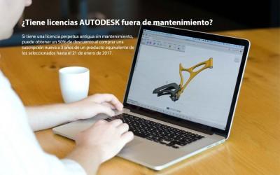 ¿Tiene licencias Autodesk fuera de mantenimiento? Actualice ahora con un 50%