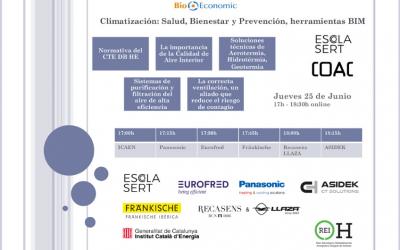"""Webinar de BioEconomic """"Climatización Salud, Bienestar y Prevención, herramientas BIM"""" Mediante la Plataforma de la Escola SERT – COAC"""